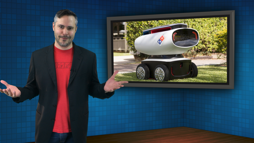 Brian with Dominoes pizza delivery robot